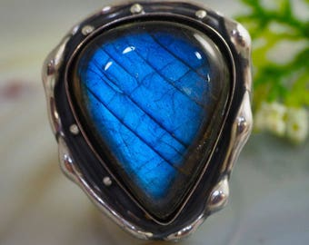 Labradorite Stone Ring Sterling Silver Jewelry