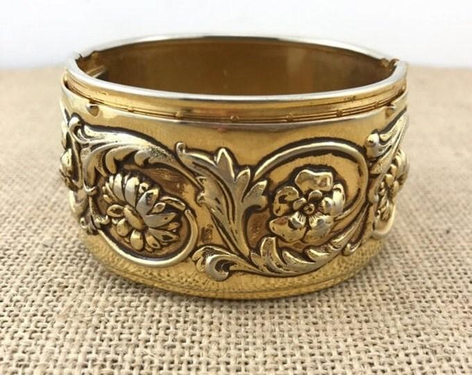 50% OFF Wide Gold Washed Art Nouveau Bracelet. Antique Vintage Flower Repousse Bracelet Cuff. Gold Repousse Cuff, Gold Art Nouveau Cuff