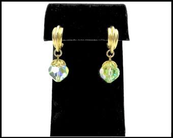 Green AB Crystal Hoop Earrings, Aurora Borealis, Light Green Pierced Gold Hoops, Green Earrings, Gift for Teenager, Gift For Her