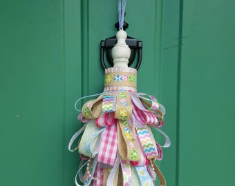 Easter Egg Decor Tassel Decoration, Pastel, Egg, Gingham, Satin Pleated Trim, Organza Ribbon, Chalk Paint Finial