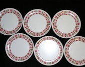 Set of 6 vintage Stetson Melamine Dinner Plates
