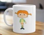Pippi Longstocking Mug, Unique Coffee Mug, Illustrated Mug, Cute Mug, Gifts for Him, Gifts for Her, Children Mug, Nostalgia Mug