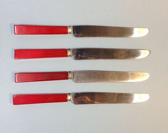 Set 4 Bakelite Knives, Cherry Red, silverware