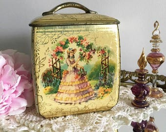Vintage Vanity Tin Box / Rustic Chic with Antebellum Girl / Made in England