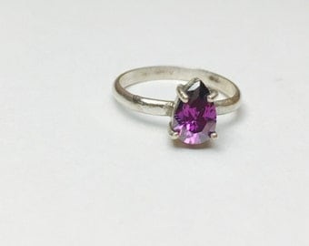 Amethyst Ring Size 8, Vintage Solitaire, Pear Shape Violet Stone, Pre Holiday SALE, Item No. S393