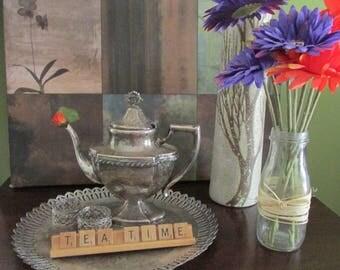Vintage Display Silver Plate Set Tray with Tea Pot Tea Time Home Interior Design