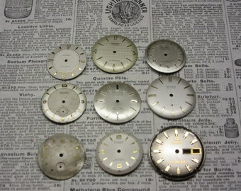 Watch Faces Watch Parts Lot of 9 Clock Parts Collection of Small Antique Clock Faces Time Parts for Art or Jewelry Industrial Flower