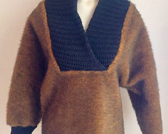 "Vintage 1950s 60s Misses' ""Panda Shag"" Faux Fur Sweater by Olympic Original Small Medium"