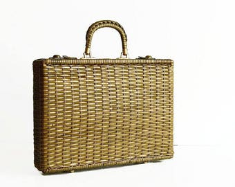 vintage woven briefcase laptop bag attache case 1960s travel luggage green brown