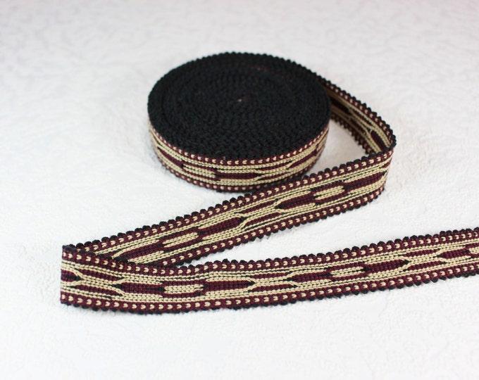 Woven Trim (6 yards), Woven Border, Cotton Ribbon, Grosgrain Ribbon, Dress Border, Border Trim, R142