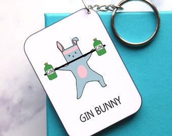 Gin Keyring, Gin Bunny, Gym Bunny, Keychain, Keyring, Gym, Token Gift, Gift for Friend, Gin, Funny Keyring, Gym & Tonic, Gym Gift, Gin Gift
