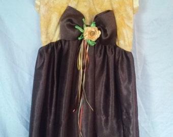 girls sz 8 dress in yellow batik and brown silk