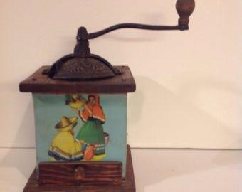 RARE Tin and Iron Coffee Grinder, Fiesta Scene, Wood Frame