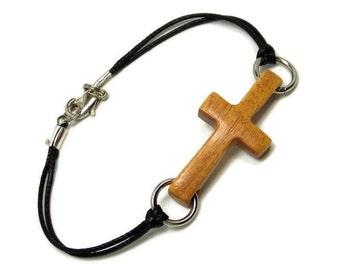 Plus Size Jewelry for Women, Sideways Cross Bracelet, Plus Size Bracelet, Cross Bracelet for Men, Wood Cross Bracelet, Mens Jewelry Cross