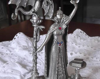 Vintage Pewter Figurine Sorceress with Dragon and Snake Masterworks Fine Pewter 1989