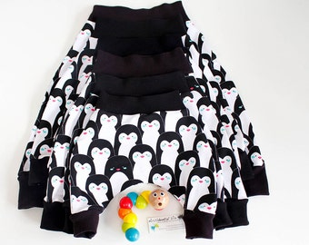 Baby harem pants, penguins, black and white monochrome, french terry, various sizes 0-3m, 3-6m, 6-12m, 1year