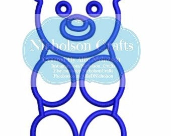 Gummy Bear machine applique embroidery design - 4x4