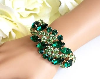 Vintage Clamper Bracelet, Green Rhinestones, Hinged Bangle Bracelet