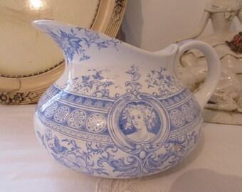 Antique French country blue ceramic pitcher, jug  U et C  sarreguemines 1800s