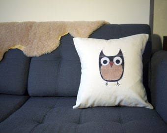 SALE: owl pillow cover - brown plaid - 18""