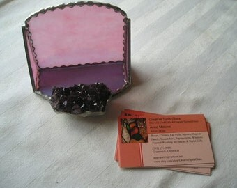 Stained Glass Business Card Holder|Purple Amethyst Crystal Cluster|Mauve/Pink Glass|Business|Office|Desk|SilverTrim|Handcrafted|Made in USA