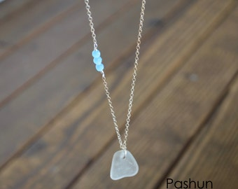 Seashell Jewelry ...White Sea Glass and Light Blue Beads Necklace (1445)
