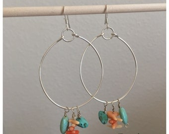 Seashell Jewelry ... Coral and Turquoise  Hoop Earrings (1521)