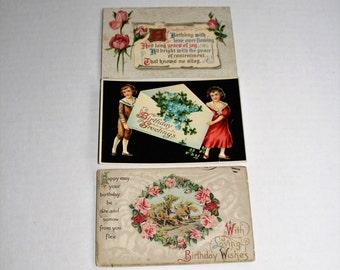 3 Antique Postcards Happy Birthday Greetings