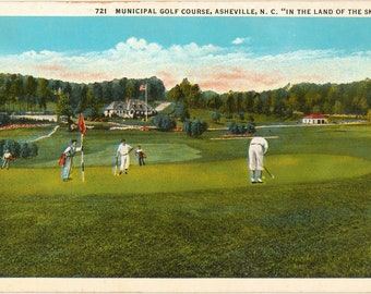 Linen Postcard, Asheville, North Carolina, Municipal Golf Course, ca 1920