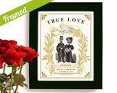 Unique Personalized Framed Wedding Gift or Engagement Idea Tattoo Couple Day of the Dead Goth Art Print for Couples Dia de los Muertos