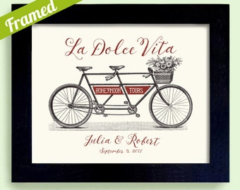 Unique Italian Wedding Gift the Good Life La Dolce Vita Framed Engagement Gift for Couples Bicycle for Two Personalized Wedding Just Married