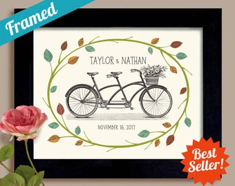 Perfect Wedding Gift Framed Gift Bicycle for Two Outdoor Wedding Tandem Bicycle Vintage Decor Bride and Groom Bicycle Wedding Newlyweds