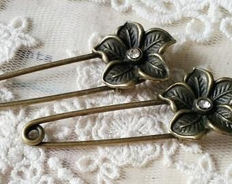 20 x 55 mm Antique Bronze Button Brooch Safety Pins (t.n)