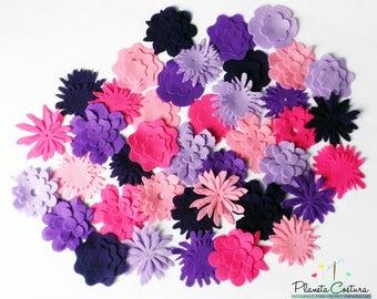 Felt Flower. Flowers for bouquets, flowers for hairbands. 125 pieces. Felt Shapes, Die Cut Shape, Applique, Wedding, Flowers for table decor