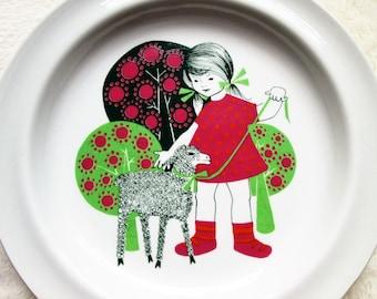 Arabia Finland - vintage mid-century child's dish - girl lamb trees - Easter springtime - Summer