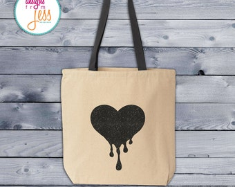 Black Glitter Bleeding Heart Tote Bag - Dripping with Love Heart Tote Bag