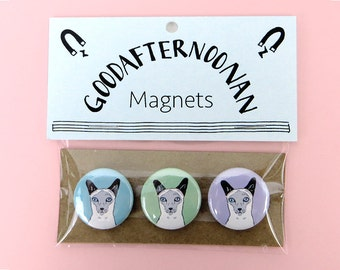 Siamese cat magnet pack, cat gift set, siamese pins, pinback buttons, fun cat stocking stuffer
