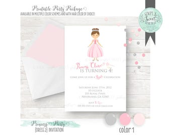 Princess Invitation. Birthday Party DIY printable PDF Invitation. Silver and Pink with other color options available