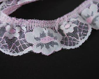 7 yards 30 inches Ruffled Lace Trim, Pink and white Lace Trim for Sewing