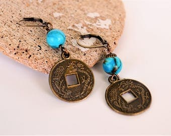 Chinese Dragon Coin Charm Earrings, Turquoise Dyed Agate Beads, Antiqued Bronze Hardware, Clip Ons Available, Gift Boxed