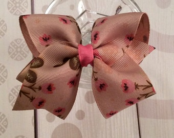 Tan and pink flower bow, rose bow, victorian bow, summer hair bow, beige hair clip, pink rose hair clip