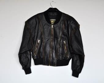 Vintage Black Leather Motorcycle Moto Punk Rock Zipper Trim Cropped Jacket