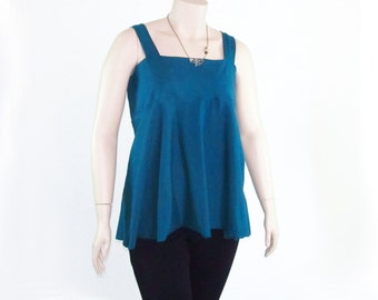 Plus Size Babydoll Tank Halter Shirt-Eco Friendly,Hand Dyed Bamboo/Organic Cotton Jersey-Made to Order Size & Color-XL,2X,3X,4X,5X,6X,7X,8X
