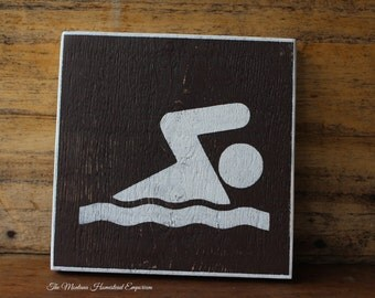 CHOOSE YOUR SIZE - National Park swimming access sign wood sign swimmer gifts swimming hole marker sign mountain signs Montana wood signs