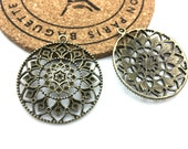 8pcs Antique Bronze Filigree Flower Charm Pendants 39mm Focal H504-6