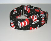 """2"""" Large Martingale Dog Collar Cat in the Hat"""