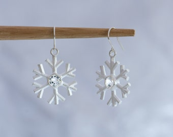 Snowflake Earrings - Silver Snowflake Earrings - White Topaz Snowflake Earrings - Christmas Gift for Her - Sterling Silver - Free Shipping