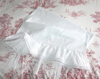 Antique white cotton bolster case. Antique pillowcase. Antique bedding. White bedding