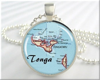Tonga Map Pendant, Resin Charm, Polynesian Island Archipelago Map Necklace, Picture Jewelry, Map Charm, Round Silver, Gift Under 20 (625RS)