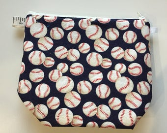 Baseballs Wedge Zippered Pouch Project Bag In Stock, Ready to Ship